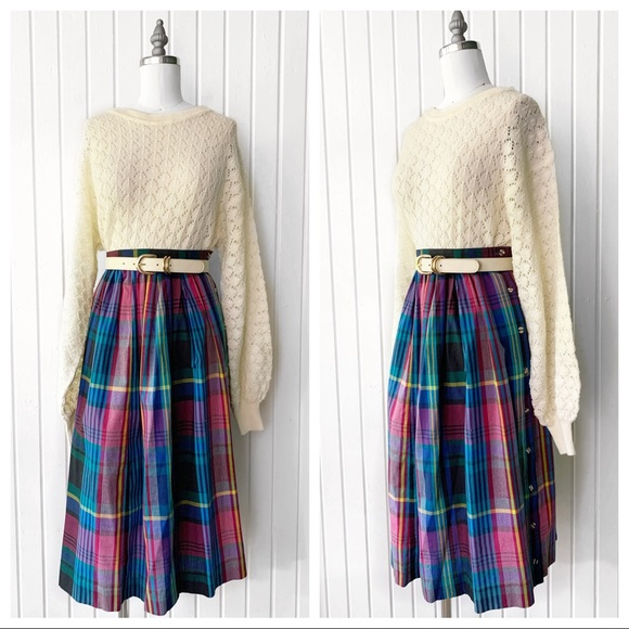 Vintage Dresses & Skirts - Vintage 80s Colorful Plaid Button Side Skirt